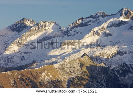 snowfall in the Posets peak, Pyrenees mountains