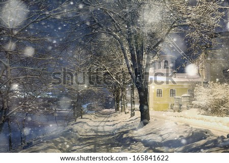 snowfall night in town
