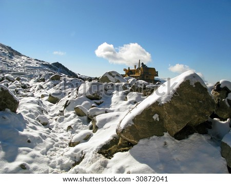 Snowfall on mountains in Gangtok Sikkim India