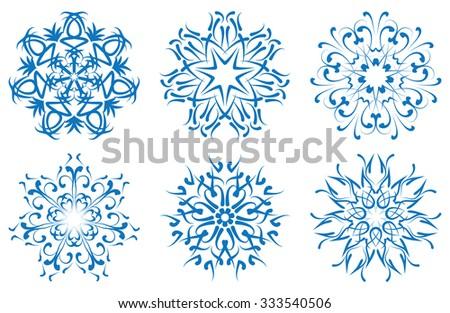 snowflake blue flower on a white background. set - stock photo