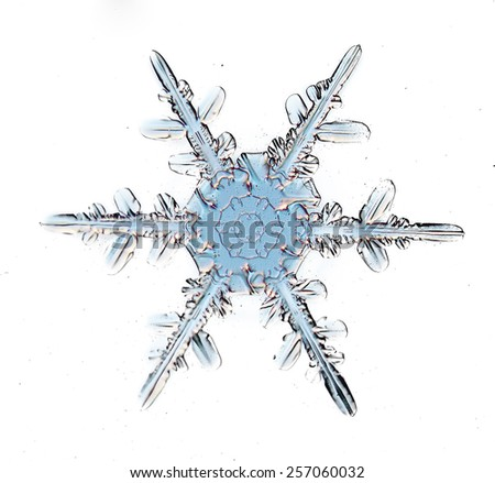 snowflake crystal blue background - stock photo