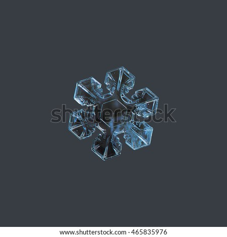 Snowflake isolated on uniform grey background. This is macro photo of real snow crystal with short, broad arms and excellent symmetry.
