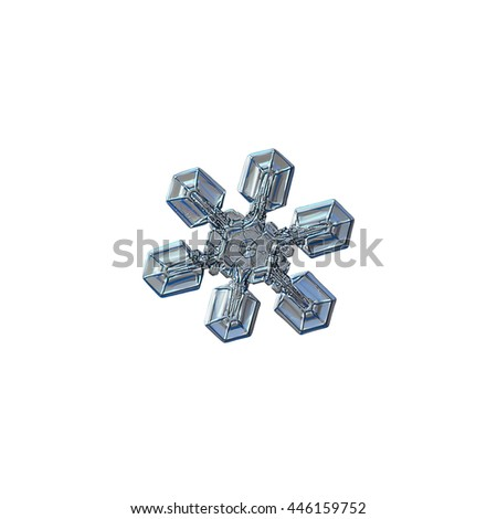 Snowflake isolated on white background: macro photo of real snow crystal, captured on glass surface with LED back light. This is medium size snowflake, around 4 millimeters from tip to tip. - stock photo