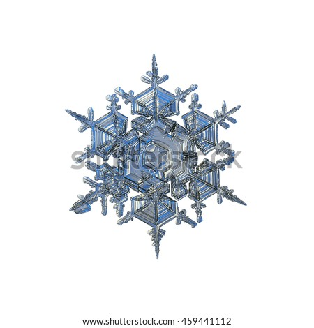 Snowflake isolated on white background. This is macro photo of real snow crystal (split plate / stellar dendrite type) with complex structure and ornate arms, captured in cold grey / blue light.