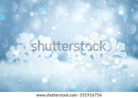 Snowflake on snow.Winter holidays background. - stock photo