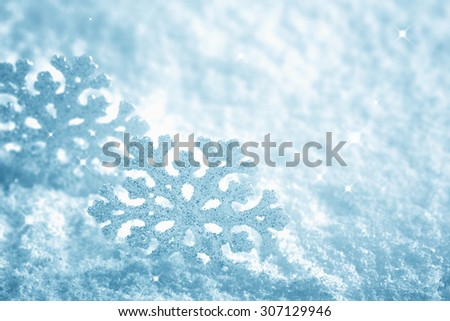 snowflake on snow.Winter holidays decoration. - stock photo