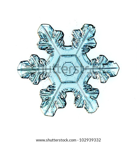 Snowflake on white background natural - stock photo