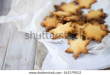 Snowflake shaped cookies - stock photo