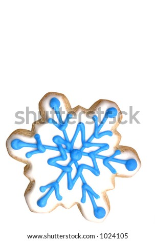 Snowflake sugar cookie (series). Isolated. 12MP camera - stock photo