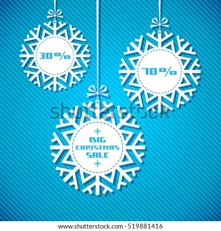 Snowflake tag - Christmas sale. Winter vintage background. Decorative illustration for print, web