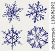 Snowflake winter. Sketch - stock vector