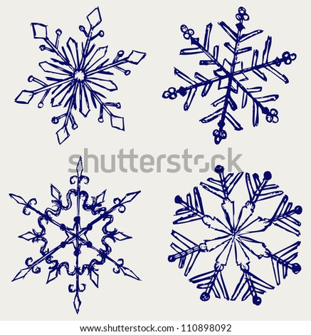 Snowflake winter. Sketch - stock photo