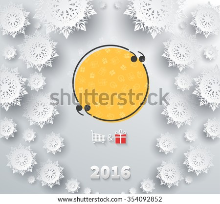 Snowflakes background for winter and new year, christmas theme. Snow, christmas, snowflake, snowflake winter 2016. Quote bubble, quote marks, quotation marks, quote box, get a quote. Raster version - stock photo