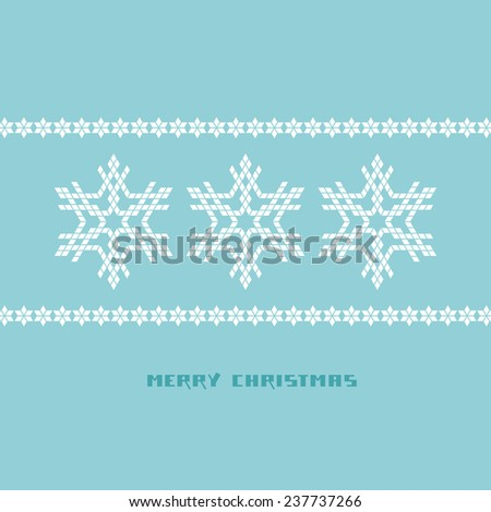 Snowflakes christmas background. Festive original design element. Invitation blue card with decoration. Geometric decorative Illustration for print, web - stock photo
