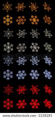 Snowflakes 3D Icon Set - stock photo