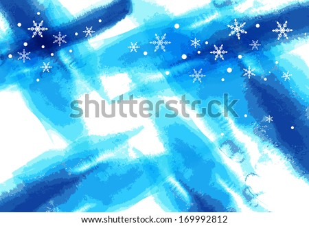 Snowflakes falling against a blue backdrop. - stock photo