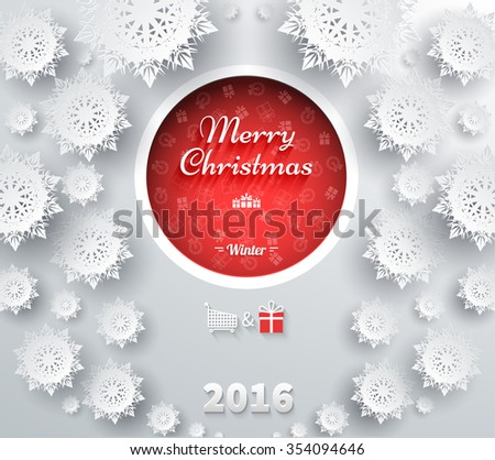 Snowflakes for winter and Merry Christmas theme. Snow, christmas, snowflake background, snowflake winter. 3D paper snowflakes. Happy New Year. Silver snowflake. Snowflakes and red ball. Raster version - stock photo