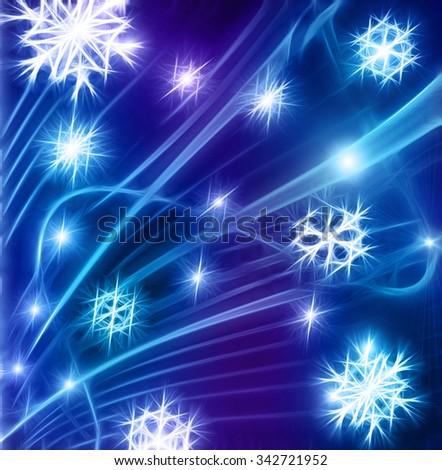 snowflakes glow background blue - stock photo