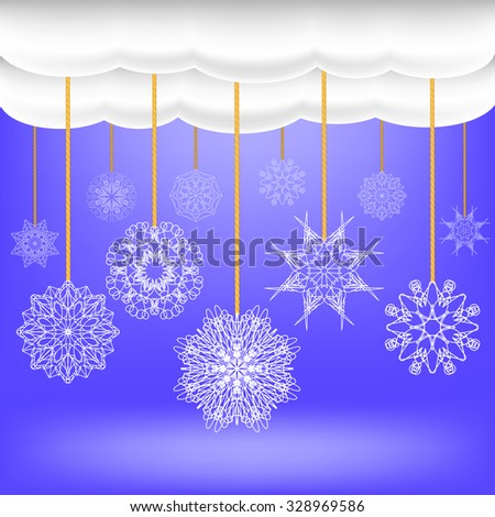 Snowflakes Hang on a Rope. Abstract Winter Snow Background. Abstract Winter Pattern. Blue Snow Flakes Background - stock photo