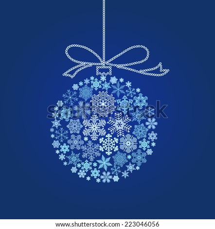 Snowflakes in the form of a blue Christmas ball