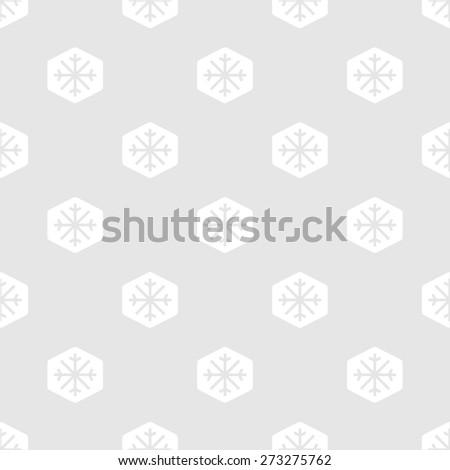 Snowflakes seamless pattern. White snowflakes on light grey background (raster version) - stock photo