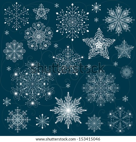 snowflakes set background raster