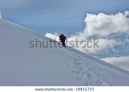 Snowhoes trekkers - stock photo