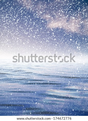 snowing at sea with a beautiful sky. beautiful background