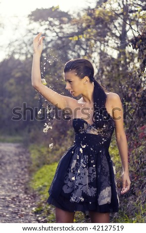 Snowing in the woods fashion - stock photo