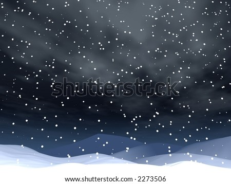 snowing landscape background. night scene - stock photo