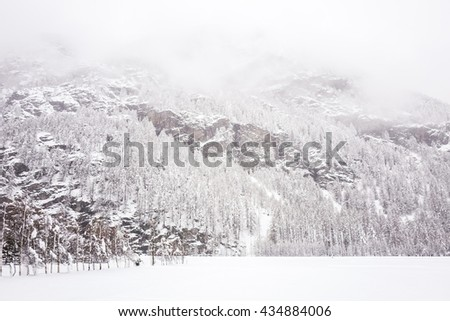 Snowing landscape in Europe