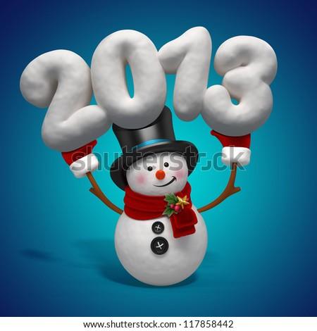 snowman 2013 - stock photo