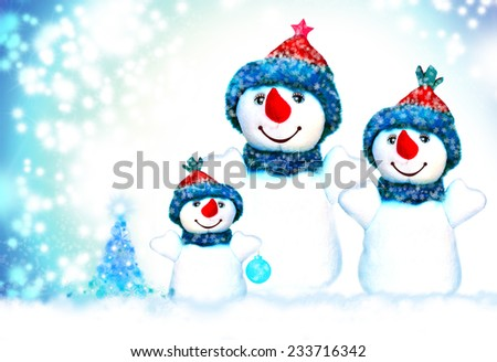 Snowman and Merry Christmas - stock photo