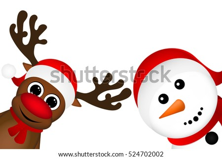 Snowman and Reindeer peeking sideways on a white background