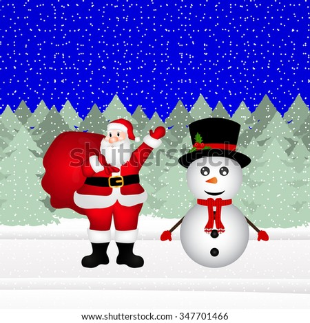 Snowman and Santa Claus in a Christmas forest