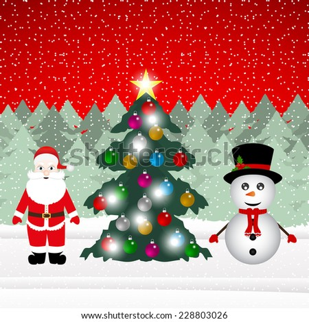 Snowman and Santa Claus with Christmas tree in the forest - stock photo