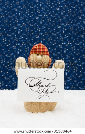 Snowman and thank you card on a star background, Snowman - stock photo
