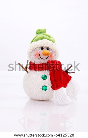 Snowman Card over white background. Vertical image - stock photo