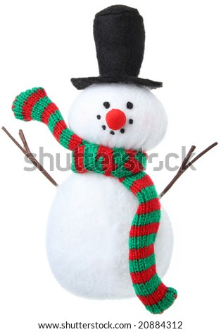Snowman Christmas ornament isolated on white - stock photo