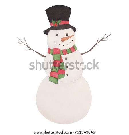 Snowman christmas watercolor illustration for card postcard