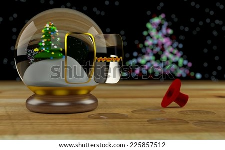 Snowman escaped from snow globe by emergency exit - stock photo