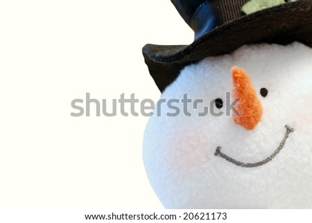 Snowman face isolated - stock photo