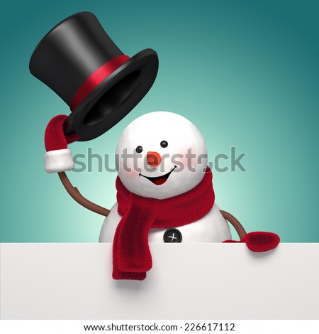 snowman gentleman taking off hat, holding New Year greeting banner, holiday salutation background, 3d illustration - stock photo