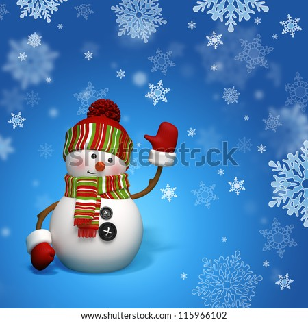 snowman greeting - stock photo
