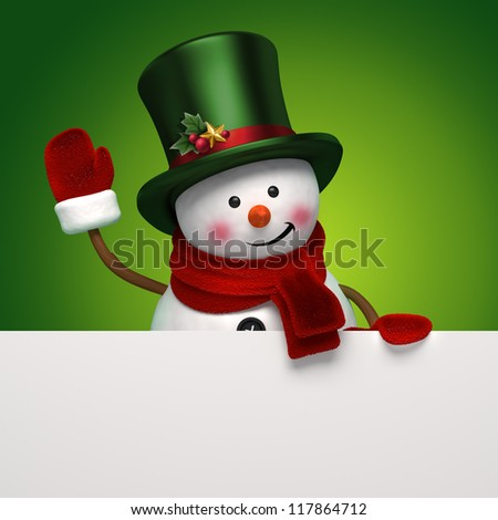 snowman greeting banner - stock photo