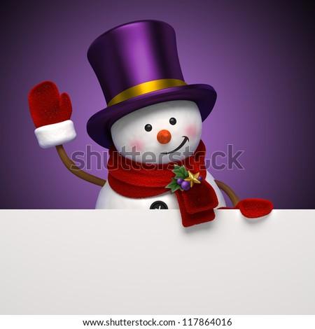 snowman hat banner - stock photo