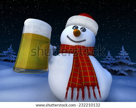 Snowman holding a tankard of beer - stock photo