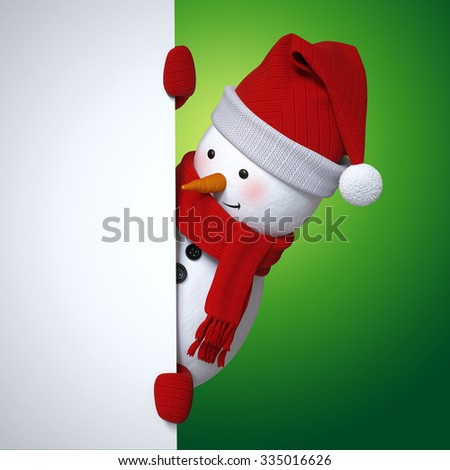 snowman holding blank banner, Christmas holiday background, 3d cartoon character illustration - stock photo