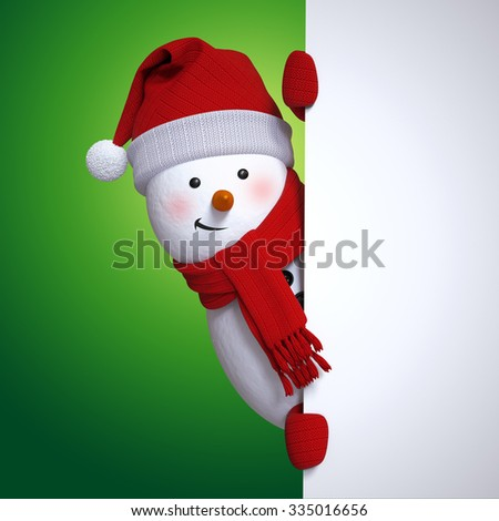 snowman holding blank banner, Christmas holiday background, 3d cartoon character illustration