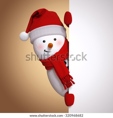 snowman holding blank banner, white page, hiding behind the corner, 3d illustration, Christmas holiday clip art - stock photo